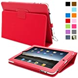 Snugg iPad 1 Leather Case in Red - Flip Stand Cover with Stylus Loop and Premium Nubuck Fibre Interior for Apple iPad 1