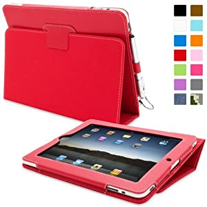 Snugg Red Leather iPad 1 Case with Lifetime Guarantee - Flip Stand Cover with Protective Premium Nubuck Fibre Interior for the Apple iPad 1