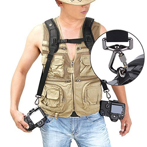 BrainyTrade IMAGEÂ Double Dual Shoulder Quick Release Neck Belt Sling Strap For Two DSLR Camera Canon Nikon Sony Pentax Panasonic SLR DSLR Cameras