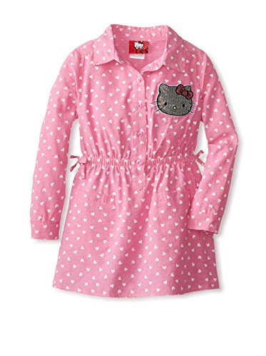 Hello Kitty Little Girls' Dress In Chambray, Carmine Rose, 6X front-894138