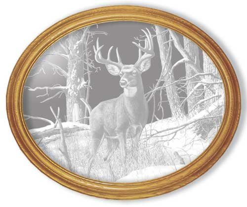 Decorative Framed Mirror Wall Decor With Deer Etched Mirror - Deer Decor - Unique Deer Gift Ideas - Ready To HangB0000V5S5G : image