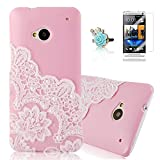VCOER Cases HTC One M7 Pink pink shell (hard back) 3D Rhinestone Bling Glitter Case Cover Case with lace pearl + 1x Screen Protector Guard for HTC One M7 + 1x Flower Anti-Dust Plug Anti-dust Plug dustproof plug