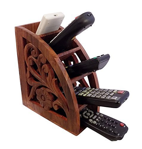 Dungri India ® Wooden Multi Remote Control Holder/stand/organizer/rack for Space Saving 4 Slot TV Remote Control Storage Organizer Caddy (Remote Control Caddy Wood compare prices)