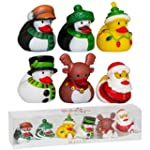 6 x Christmas Theme Rubber Ducks Secr...