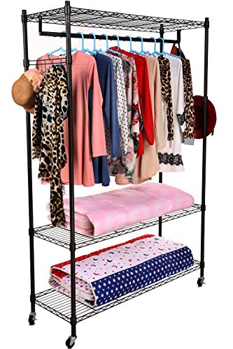 Homdox 3-Tiers Large Size Heavy Duty Wire Shelving Garment Rolling Rack Clothing Rack with Double Clothes Rods and Lockable Wheels+1 Pair Side Hooks,Black (Bedroom Clothes Rack compare prices)