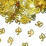 Konfetti Tisch Dekoration ZAHL 50 goldene Hochzeit