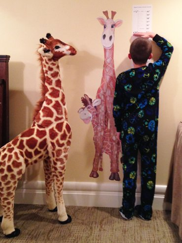 "Gerome the Giraffe - Deluxe Gift Set, Includes 25"" X 55"" Growth Chart Decal, and Melissa & Doug Extra Large 57"" Plush"