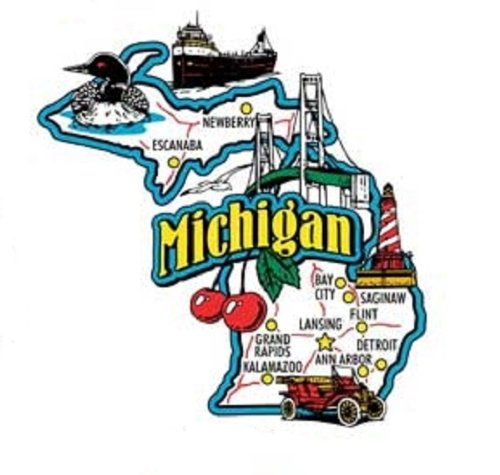 Michigan Jumbo State Map Fridge Magnet (Michigan Fridge Magnet compare prices)
