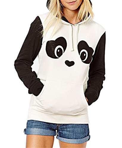 Women s cute panda hoodies outerwear coat with zipper pocket sweater