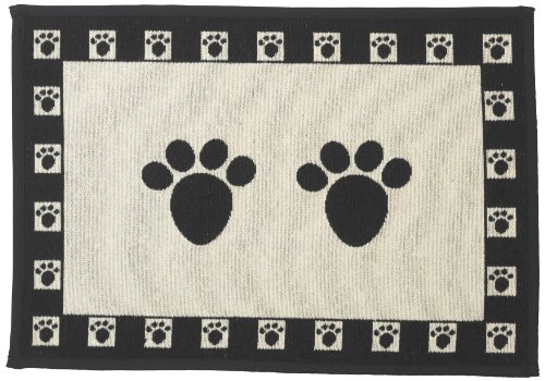 Pet Rageous Designed Tapestry Placemat for Pet Feeding Station, 13-Inch by 19-Inch, Paws, Natural/Black