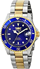 Invicta Pro Diver Unisex Automatic Watch with Blue Dial  Analogue display on Multicolour Gold Plated Bracelet 8928OB