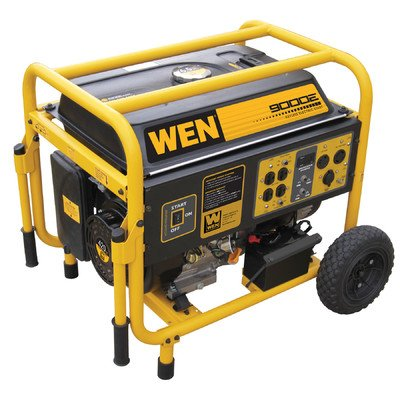 Wen 56877 9000-Watt 420Cc 15-Hp Ohv Gas-Powered Portable Generator With Electric Start And Wheel Kit