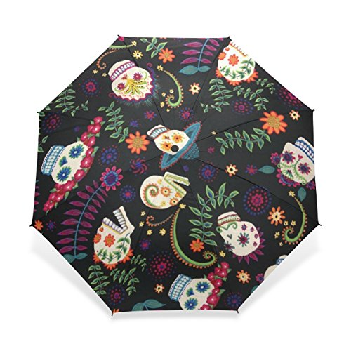 ZOEO Rain Umbrella Windproof,Sugar Skull Colorful Flowers Pattern,Ultralight Foldable Compact Travel Umbrella