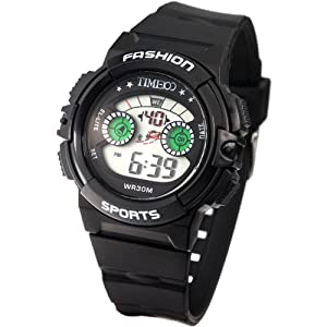Time100 Kids' Multifunction LCD Fragrant Black Strap Digital Watches#W40007G.01A