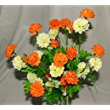 Gorgeous Artificial Silk Orange & Cream Mini Chrysanthemum / Mum bush with Leaves ca 35 flower heads - grave home spring flowers