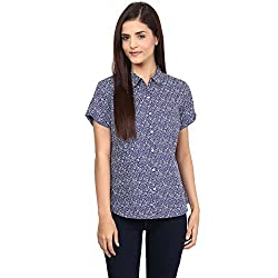 Annabelle by pantaloons Women's Casual Shirt (205000005551279_Navy_L)