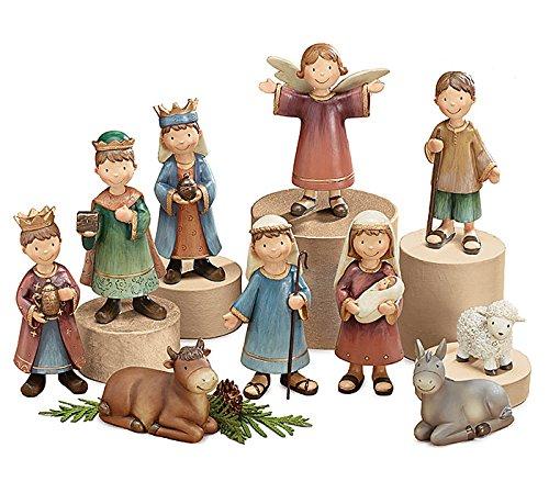 Whimsical Children 10 Piece Christmas Nativity Figurines