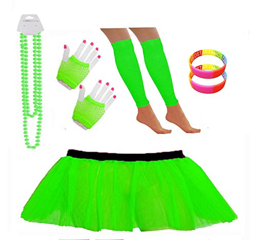 Neon Tutu Skirt Set - Leg Warmers, Short Fishnet Gloves, Necklace Beads, - 10 Colours - Sizes 8 to 22