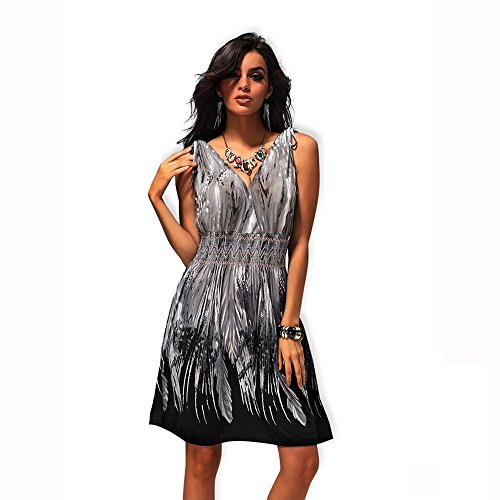 Alralel Women Deep V Neck Backless Vogue Printed Casual Empire Bustier Dress