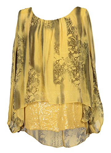 Ladies Womens Italian Lagenlook Quirky Long Sleeve Sequin Hem Bottom Printed Silk Tunic Top Blouse One Size Plus (One Size Plus, Yellow)
