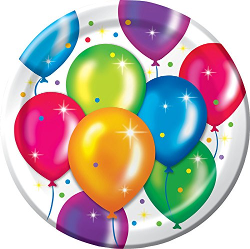 """Creative Converting 8 Count Birthday Balloons Sturdy Style Paper Dinner Plates, 8.75"""", Multicolor"""