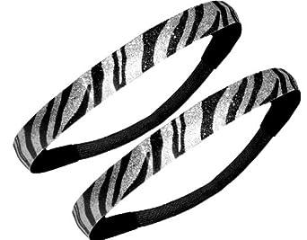 Black and Silver Zebra Glitter Sport Headband