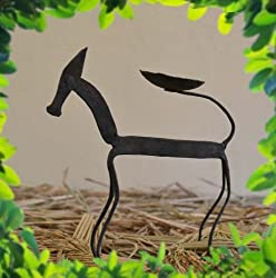 Chinhhari Arts Tribal Wrought Iron Horse Candle Stand ( Black, 17.78 cm x 13.97 cm x 5.08 cm )