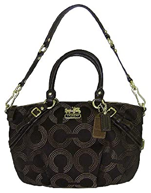 Coach Madison Signature Dotted Op Art Sophia Convertiable Shoulder Satchel Bag Tote 15935 Brown