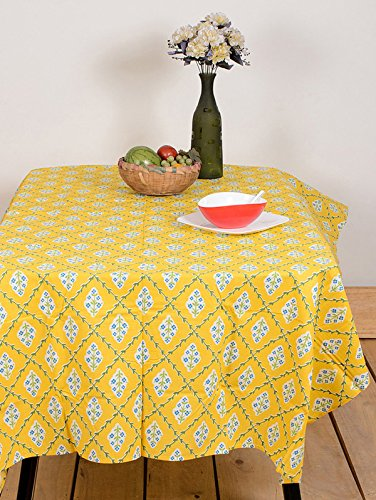 Table Cover Diamond Flower Yellow 60 By 90 Inches Table Cloth Table Linen Cotton