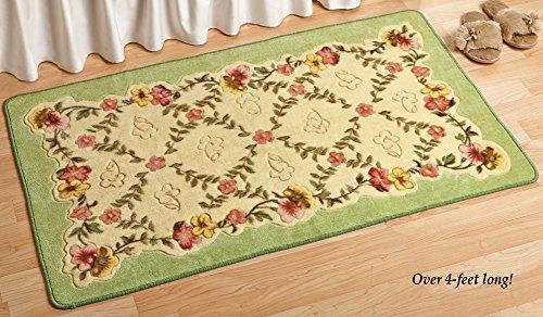 Decorative Green Border Colorful Floral Springtime Garden Flowers Floor Runner Rug