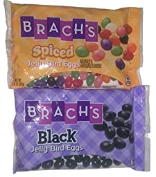 Assorted Brach\'s Jelly Bird Eggs in Black & Spiced Jelly Beans Bundle (2 Pack)