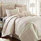 Pacific Coast Textiles 8-Piece Shadow Creek Comforter Set, Queen, Ivory