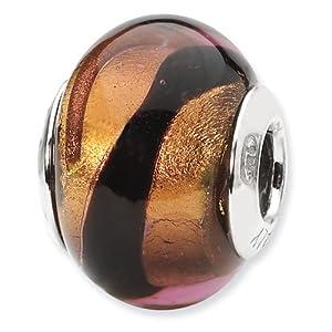 Sterling Silver Reflections Copper/Black Italian Murano Bead