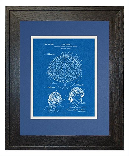 "Camouflaging Covering For Military Helmets Patent Art Blueprint Print in a Rustic Oak Wood Frame with a Double Mat (20"" x 24"")"