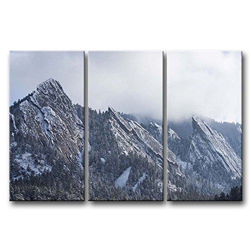 So Crazy Art 3 Pieces Wall Art Painting Flatirons Colorado Cloud Sky Snow Mountain Trees Pictures Prints On Canvas Landscape The Picture Decor Oil For Home Modern Decoration Print For Bedroom (Art Flat Iron compare prices)
