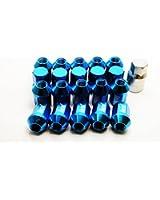 ホイールナット 20個セット アルミ M12 P1.5 34mm ショート 袋型 ブルー 青