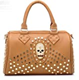 Skull rivet punk portable shoulder bag new hand handbag new women brown