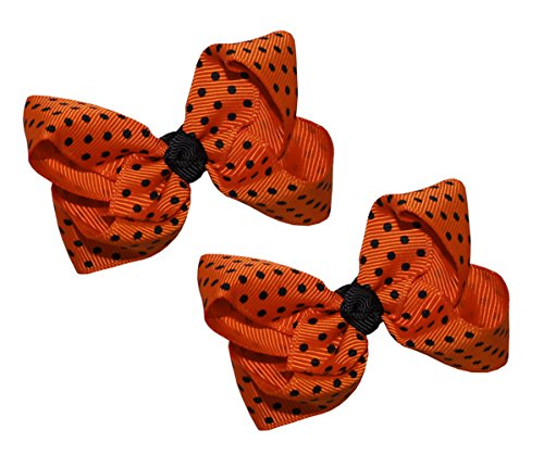 Webb Direct 2U Baby-Girls Set Of 2 Orange & Black Micro Dotted Hair Bows 5161Set front-1017766
