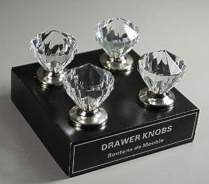 Set Of 4 Large Crystal Style Door / Drawer / Wardrobe Knobs