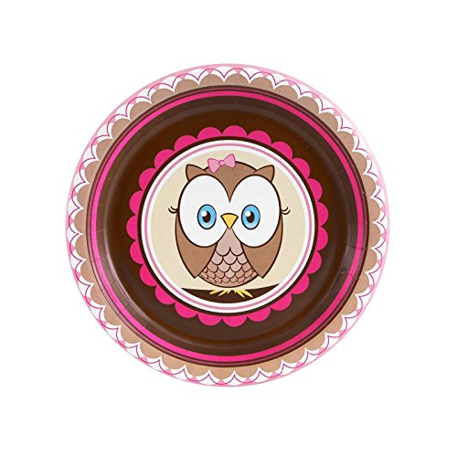 Owl Party Look Whoo's 1 Pink Dessert Plates (8)