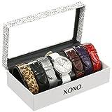 Reloj XOXO XO9054 para mujer en tono plata con set de 7 pulseras intercambiables.