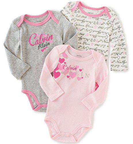 Calvin Klein Baby Girls' Assorted Long Sleeve Bodysuit, Light Gray/Pink, 0-3 Months (Pack of 3)