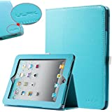 ULAK Folio Slim Fit Synthetic Leather Stand Magnetic Case Cover for Apple iPad 1 1st Generation (Flip-Light Blue)