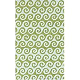 3' x 5' Wave Reflections Light Blue and Green Hand Hooked Outdoor Patio Area Throw Rug