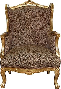 Casa Padrino Baroque Lounge throne Leopard / Gold Mod2 - wingchair - wing chair Tron chair