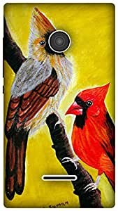 The Racoon Lean Cardinal Pair hard plastic printed back case / cover for Microsoft Lumia 435