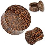 10mm Organic Coconut Wood Stash Saddle Fit Ear Gauge Saddle Plug Flesh Tunnel Earring