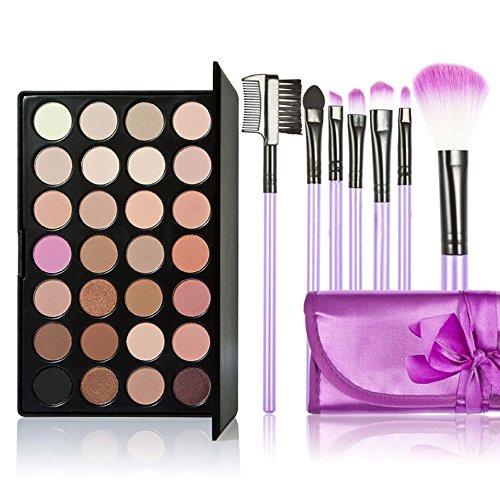Anself Set Palette de maquillage professionnel 28 couleurs Palette de fard à paupières + 7PCS pinceaux de maquillage pro