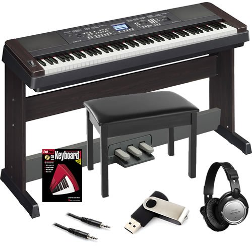 yamaha dgx 650 black digital piano bundle w wood bench. Black Bedroom Furniture Sets. Home Design Ideas