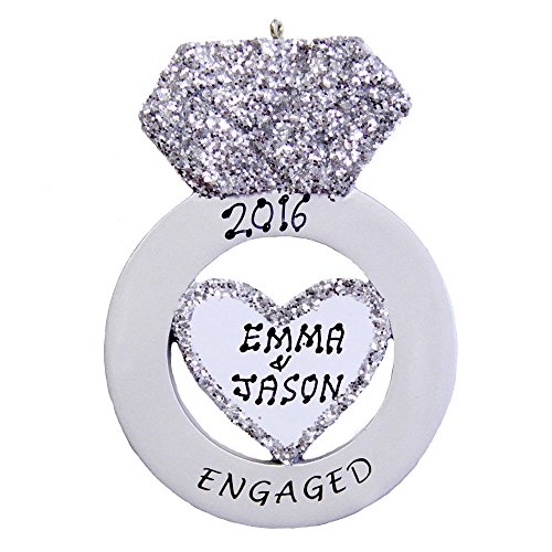 Engagement Christmas Tree Ornaments - Personalized Engagement Ring Ornament